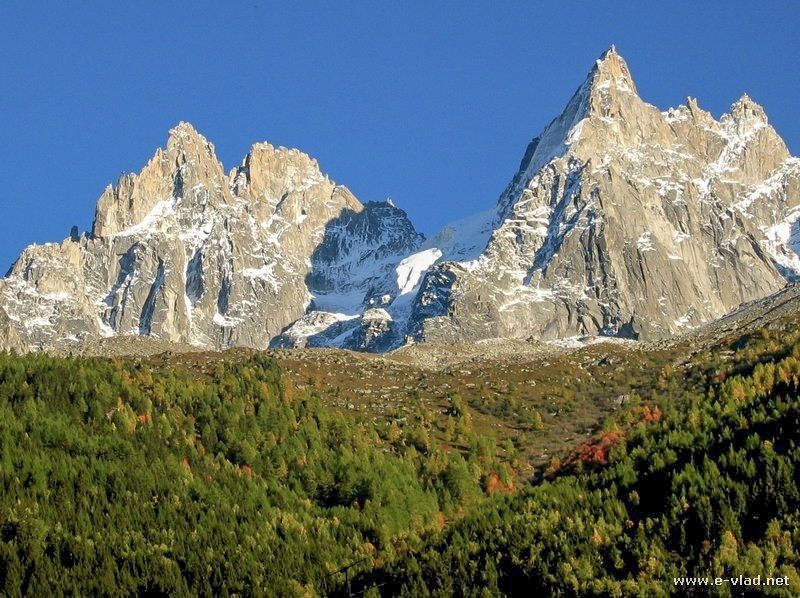 Chamonix, France - the french alps can be seen up close from first tramway stop