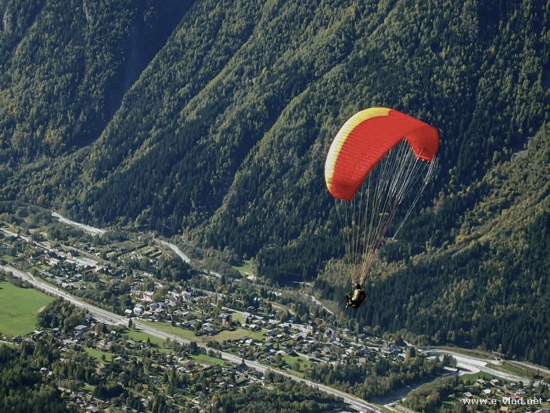 Chamonix, France - a para glider flying over the town