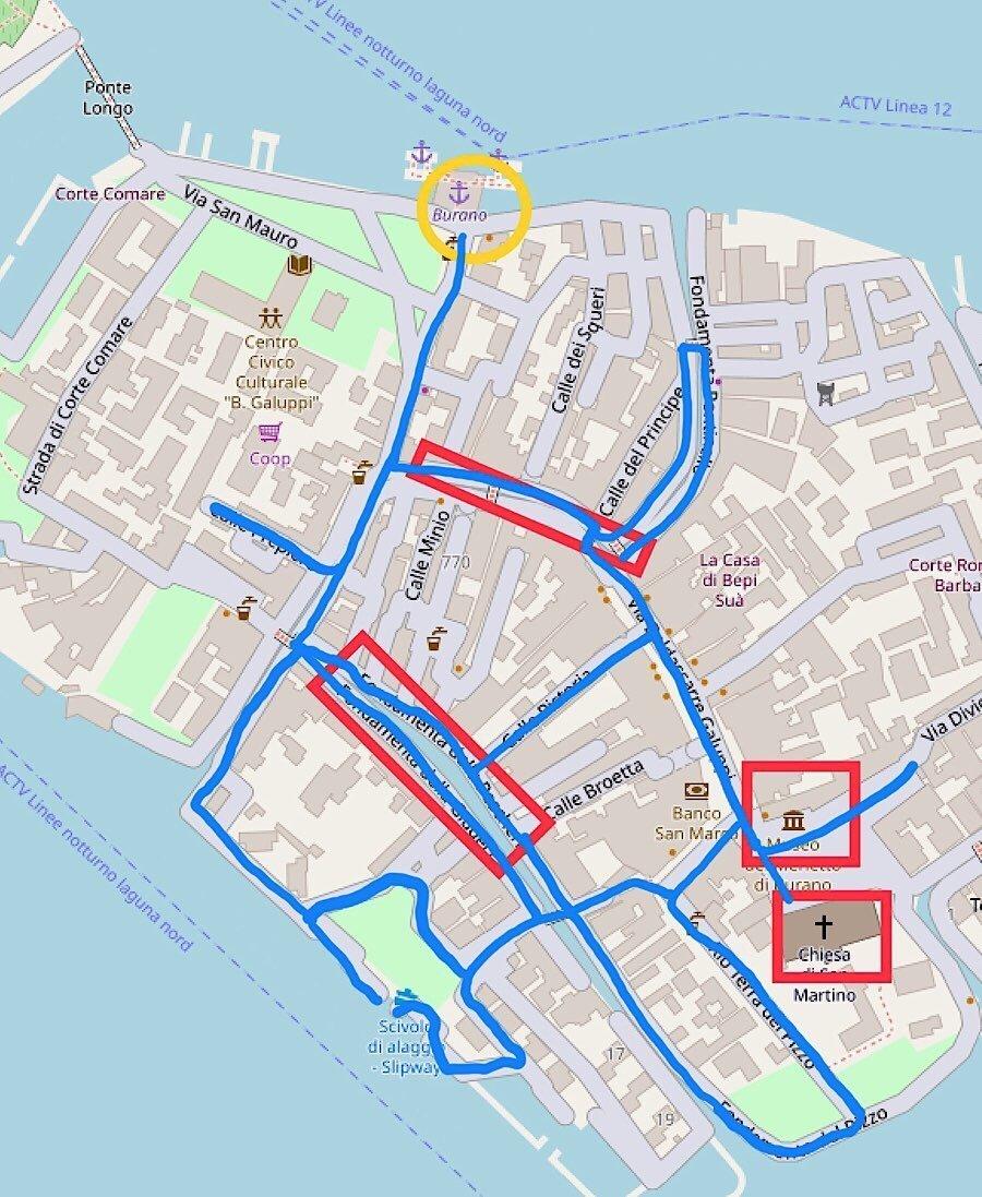 Walking tour map of Burano