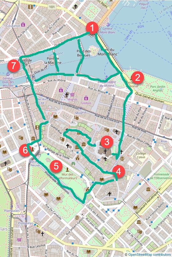 Old Town Geneva walking tour map