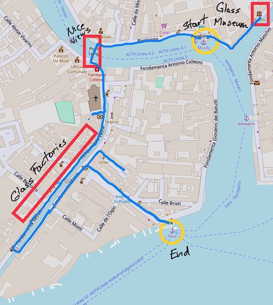 Walking tour map of Murano