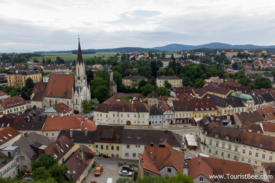 Melk, Austria - Beautiful panorama of the old village of Melk seen from Melk Abbey
