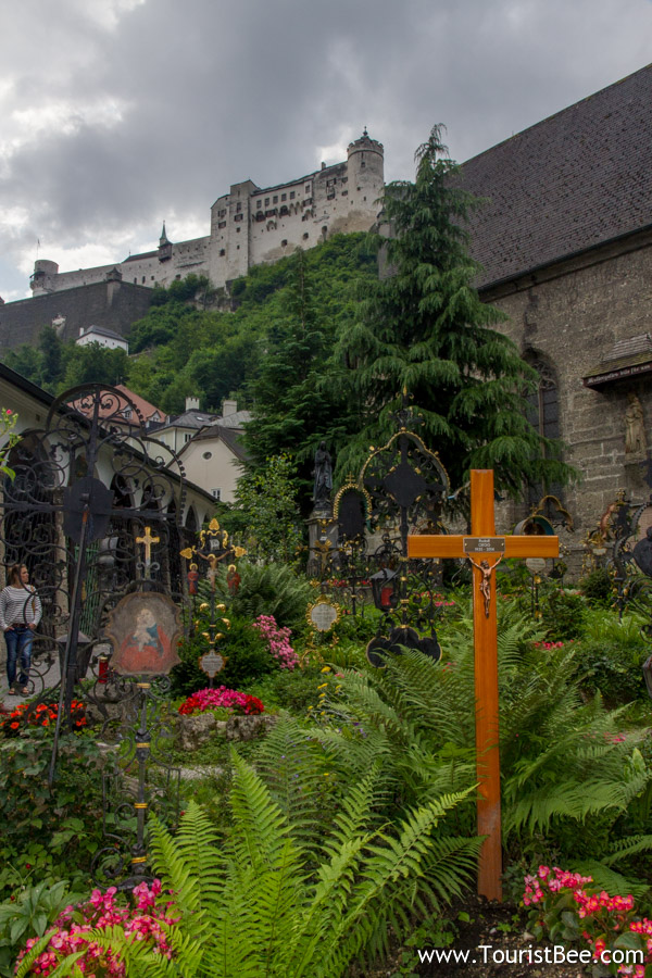 Salzburg, Austria - Petersfriedhof is a picturesque cemetery with baroque tombs of nobility as well as 12th century catacombs. This is where the Von Trapps hid from the Nazis.