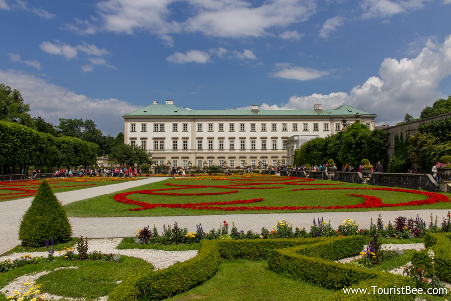 Salzburg, Austria - Beautiful view of the Mirabell Gardens and Palace building