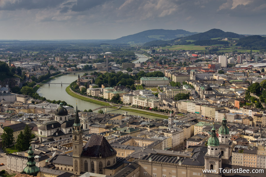 Salzburg, Austria - Beautiful panorama of Salzburg seen from the Salzburg Fortress