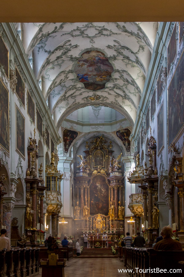 Salzburg, Austria - Sunday church service inside the beautiful Saint Peter Church