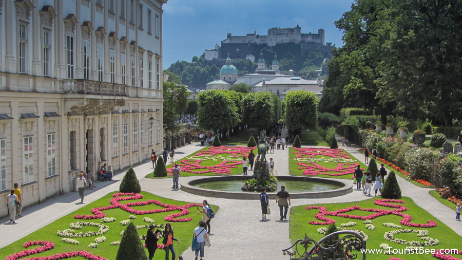 Salzburg, Austria - Beautiful view of the Mirabell Gardens and Salzburg Fortress from the steps where the Do-Re-Mi song of Sound of Music was filmed