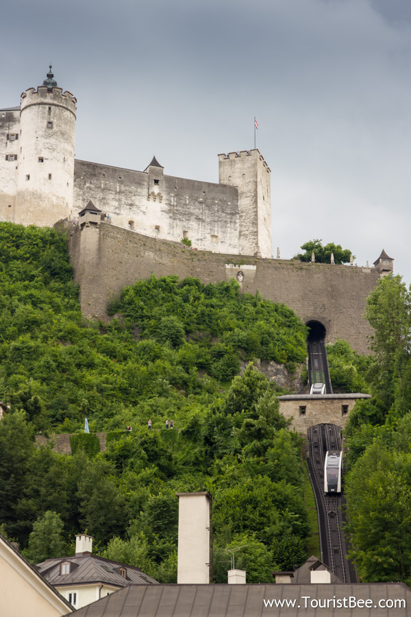 Hohensalzburg Fortress, Austria - The tramway is a fast and conveninet way to climb up to the Hohensalzburg Fortress. It takes you up to the fortress in about 30 seconds