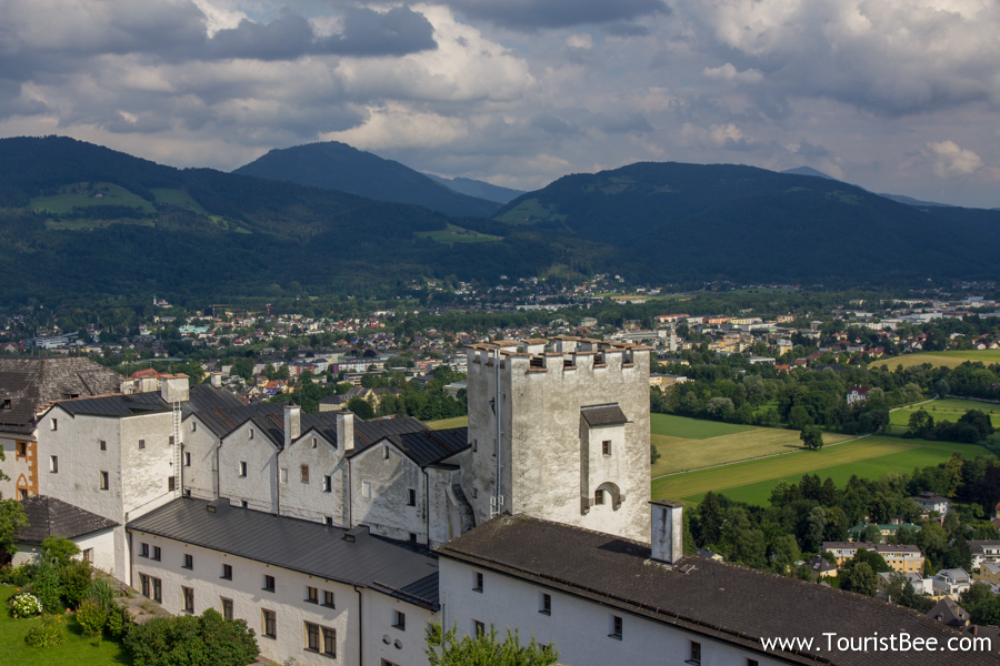Hohensalzburg Fortress, Austria - Fortress walls and surrounding hills seen from the tallest tower of the castle.