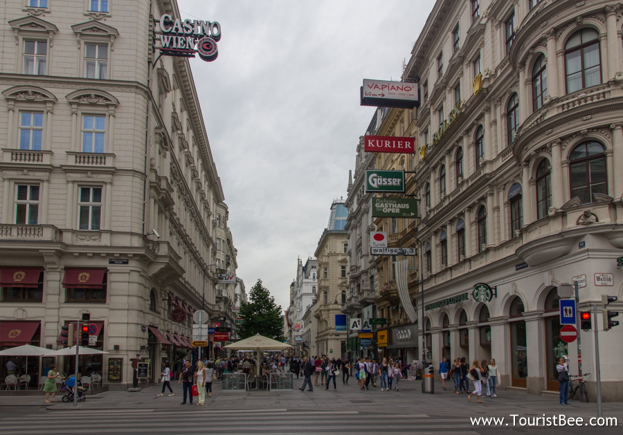 Vienna, Austria - Beautiful buildings along Karntner Strasse open the way towards from the Opera to central Vienna