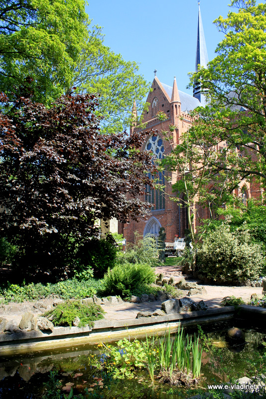 Veurne, Belgium - Saint Walburga church seen from the Walburga Park