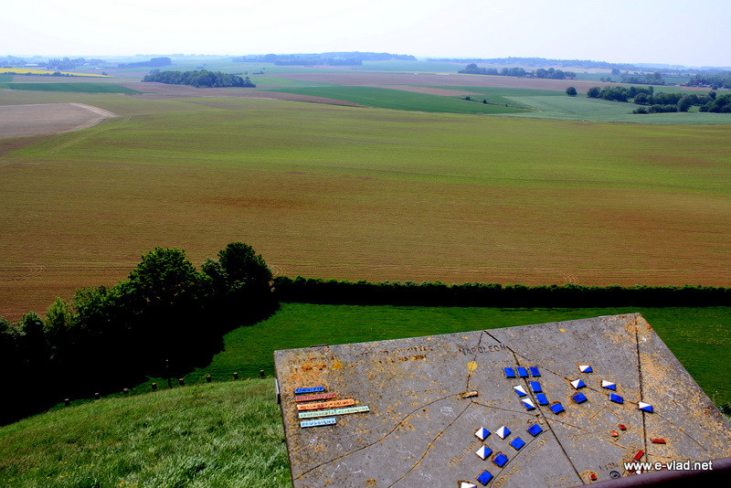 Waterloo, Belgium - Panorama of battlefield with army positions map. This is the field where Napoleon Bonaparte was defeated by Duke of Wellington.