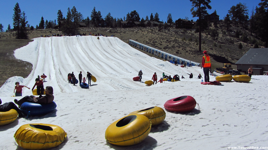 big bear snow play california inner tubes at the bottom of the small slope