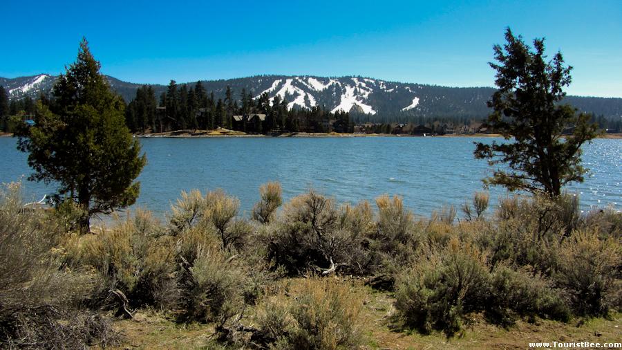 Beautiful view of Big Bear Lake and Snow Summit and Bear Mountain winter resorts.