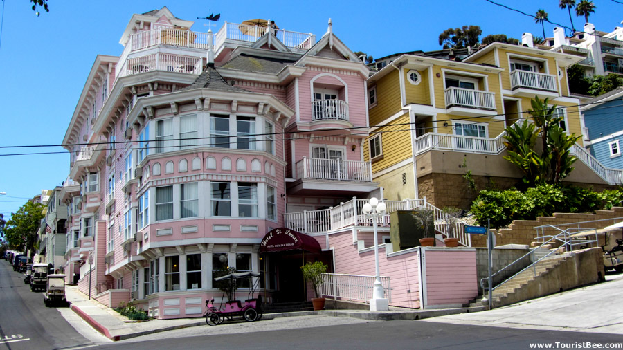 Avalon, Catalina Island - Colorful victorian homes on Metropole Avenue.