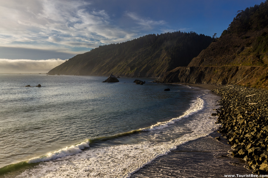 Just North of Fort Bragg, the Pacific Coast Highway meets the Pacific Ocean