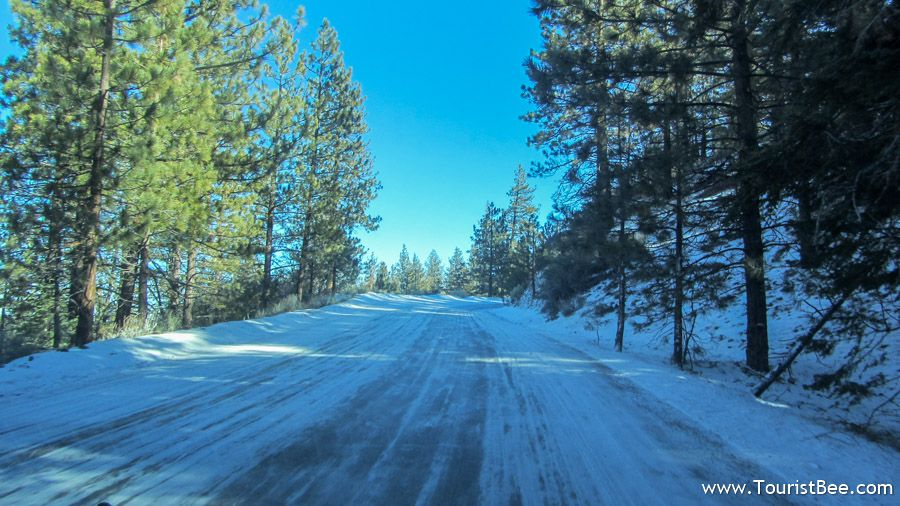 Frazier Park, California - The road from Frazier Park to Mount Pinos is often covered in snow during the winter