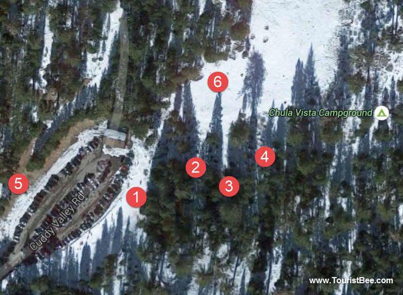 Mount Pinos, California - Map of snow play areas around Chula Vista Campground near Mount Pinos