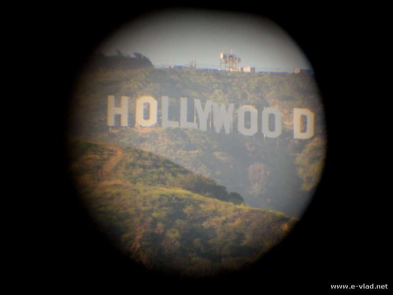 Hollywood, California -  The Hollywood sign seen through binoculars.