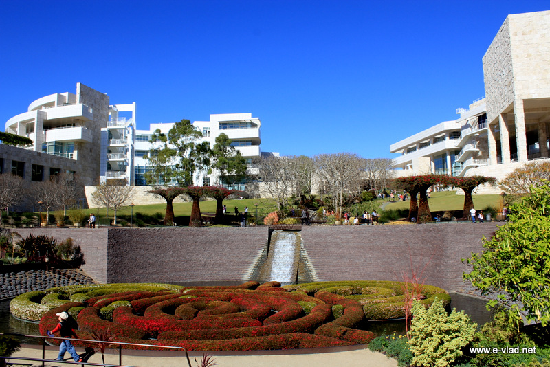 Los Angeles, California - Panoramic view of the Getty Center and the Central Garden.
