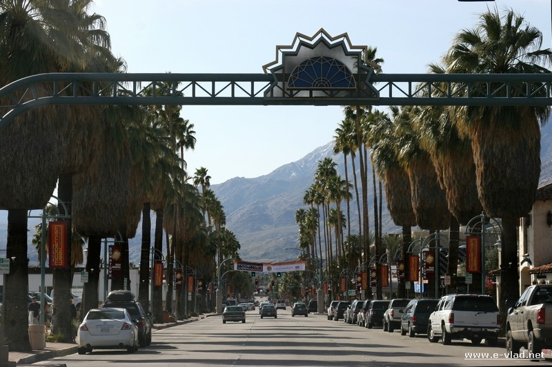 Driving through downtown Palm Springs