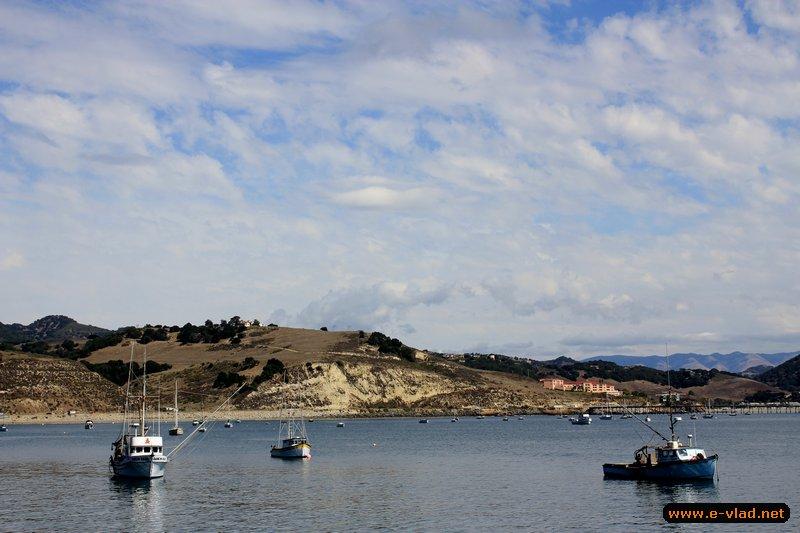 Port Port San Luis Harbor, California - Fishing boats anchored in the Port San Luis marina