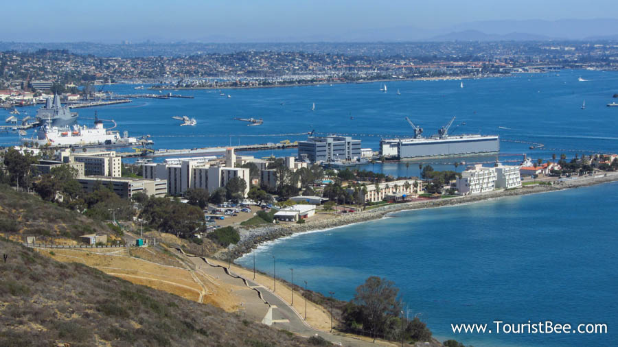San Diego, California - Cabrillo National Monument or Point Loma provides sweeping views of the San Diego Bay Area