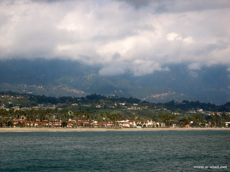 Panorama of the beach and pier in Santa Barbara, California.