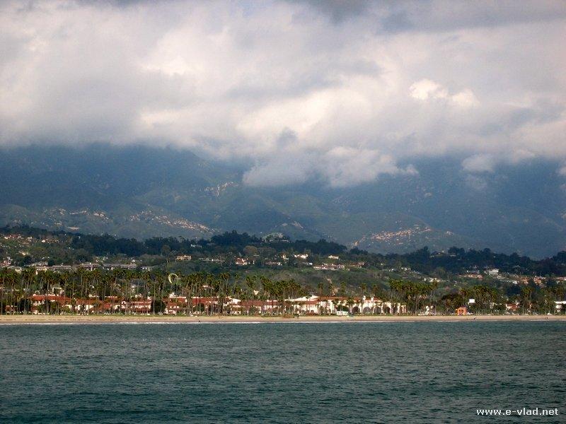 Panorama of the beach and pier in Santa Barbara, California.