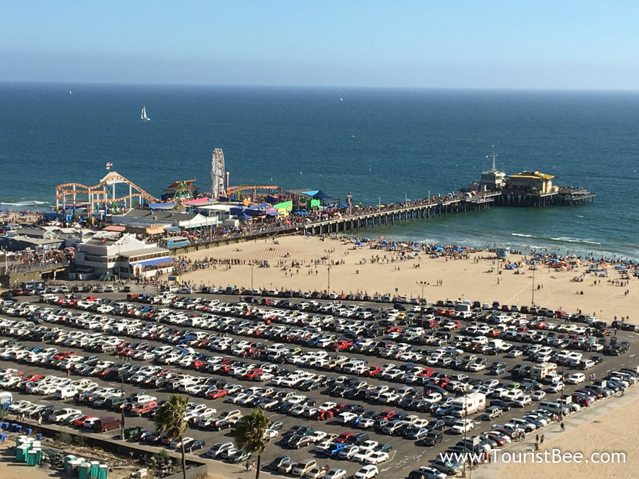 Santa Monica, California - Beautiful view of the Santa Monica Pier seen from a nearby highrise.