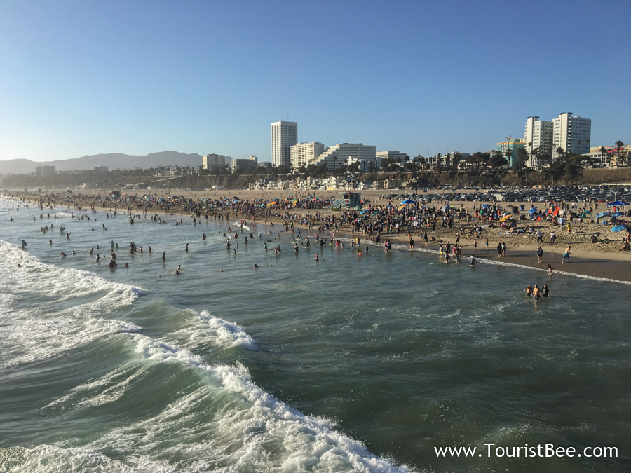 The beautiful Santa Monica Beach seen from the pier.