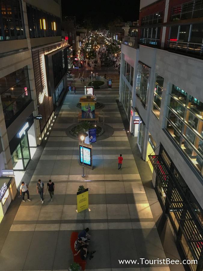Santa Monica, California - People walking among shops at night on 3rd Street Promenade