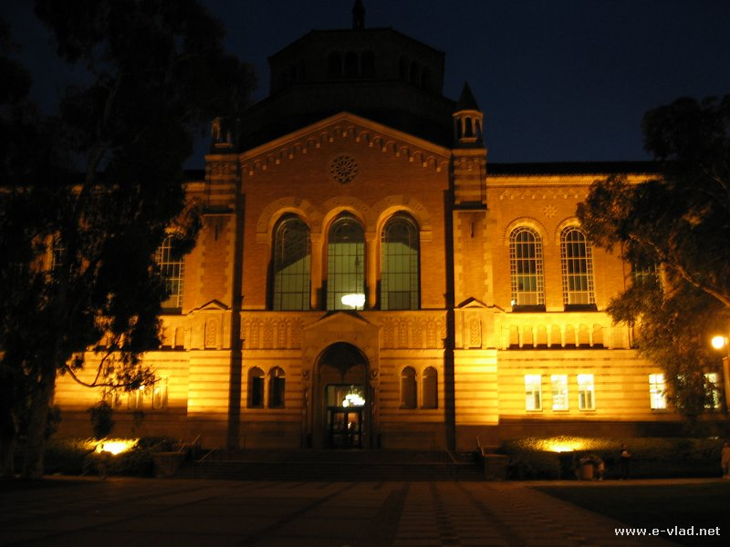 UCLA Powell Library at night - Los Angeles, California.