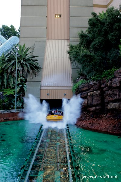 Universal Studios, Hollywood - Visitors splashing hard during the Jurassic Park attraction at Universal Studios