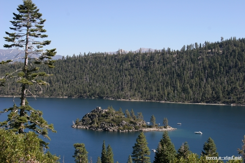 Fannette Island and Emerald Bay seen from the trail leading to Vikingsholm