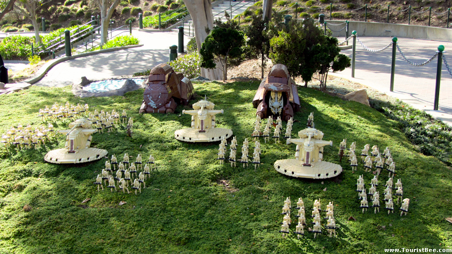 Legoland, California - Amazing Star Wars scene from the invation of planet Naboo. It is all recreated from LEGO pieces