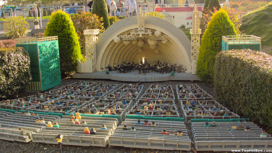 The Los Angeles Hollywood Bowl made from Lego pieces on display at Legoland California