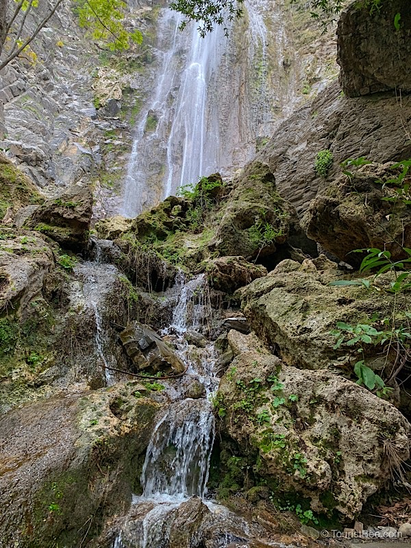 Rose Valley Falls are filled with water during spring. This is a popular Ojai Hiking Trail.
