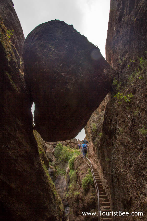Pinnacles National Park - The Bear Gulch Cave trail going under massive boulders