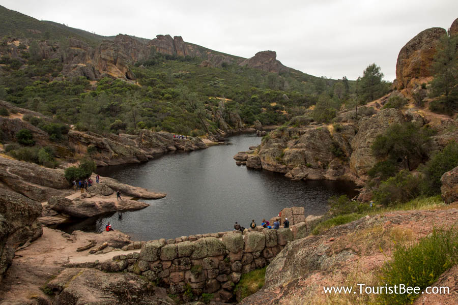 Pinnacles National Park - Bear Gulch Reservoir and dam seen from the Rim Trail