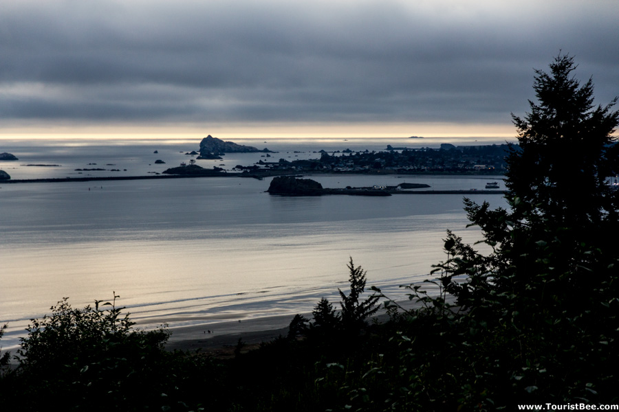 Crescent City, California - The Pacific Ocean and Crescent City at sunset