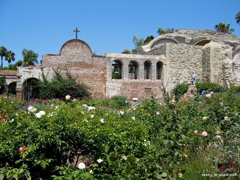 San Juan Capistrano, California - Ruins of an old wall from the San Juan Capistrano Mission.