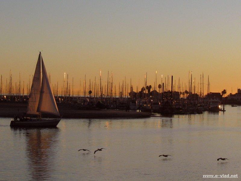 The marina at sunset in Santa Barbara, California