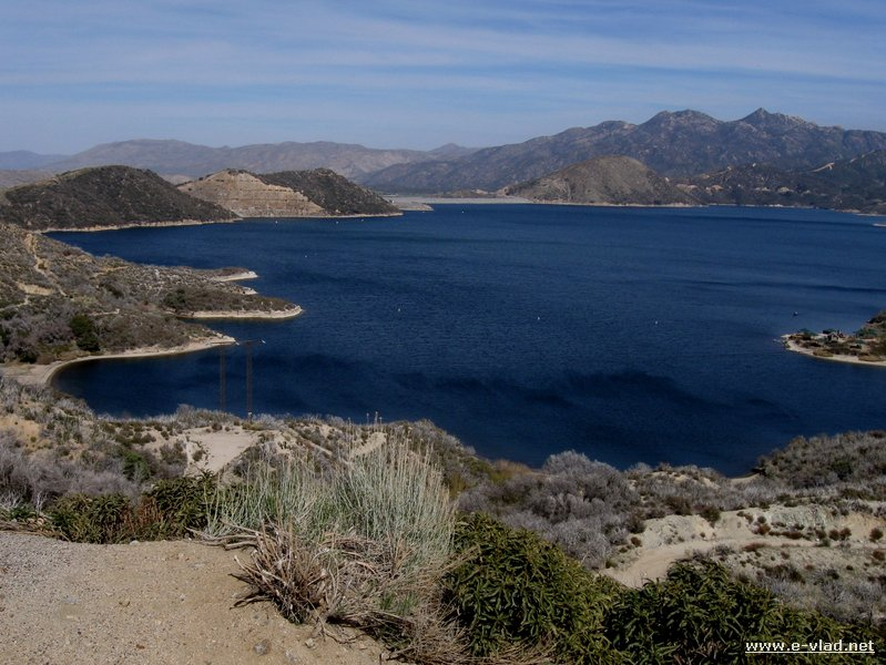 Panorama view of the west side of Silverwood Lake in Hesperia California.