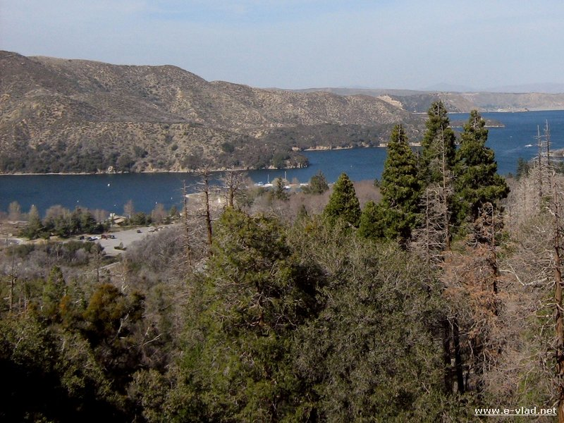 Hesperia, California - The eastern side of Silverwood Lake is seen through the trees.