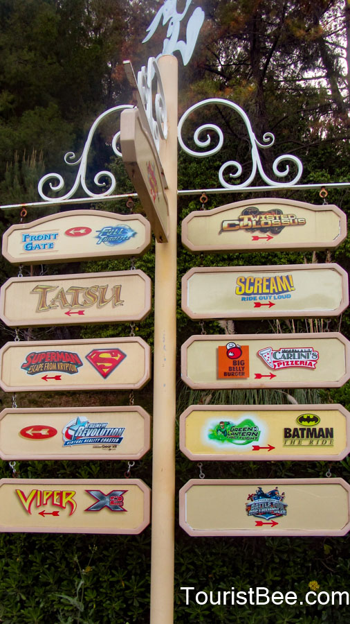 Six Flags Magic Mountain - Orientation sign pointing to the various rides available