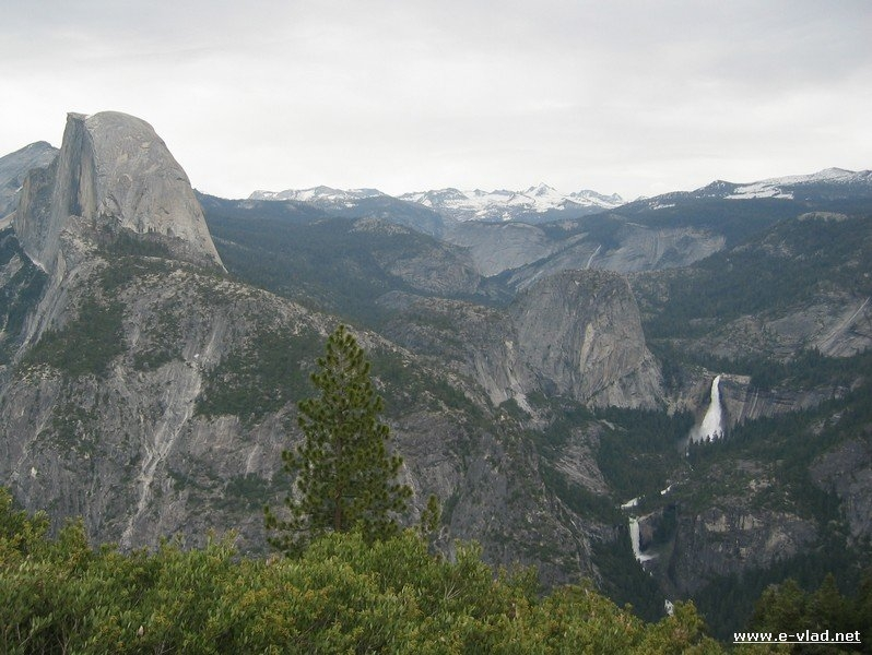Yosemite National Park, California - Half Dome with Vernal and Nevada falls seen from Glacier Point