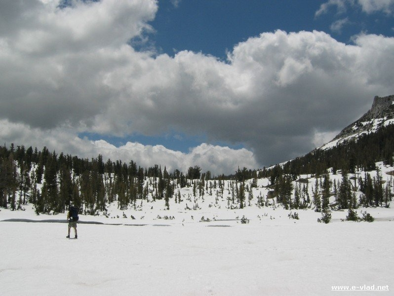 When backpacking in early spring you can still find plenty of snow in Yosemite National Park, California.