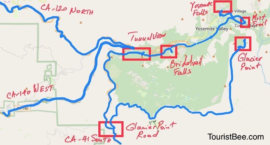 Map of best things to do in Yosemite Valley