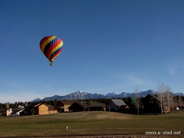 Pagosa Springs, Colorado - Air balloon floating over the valley.